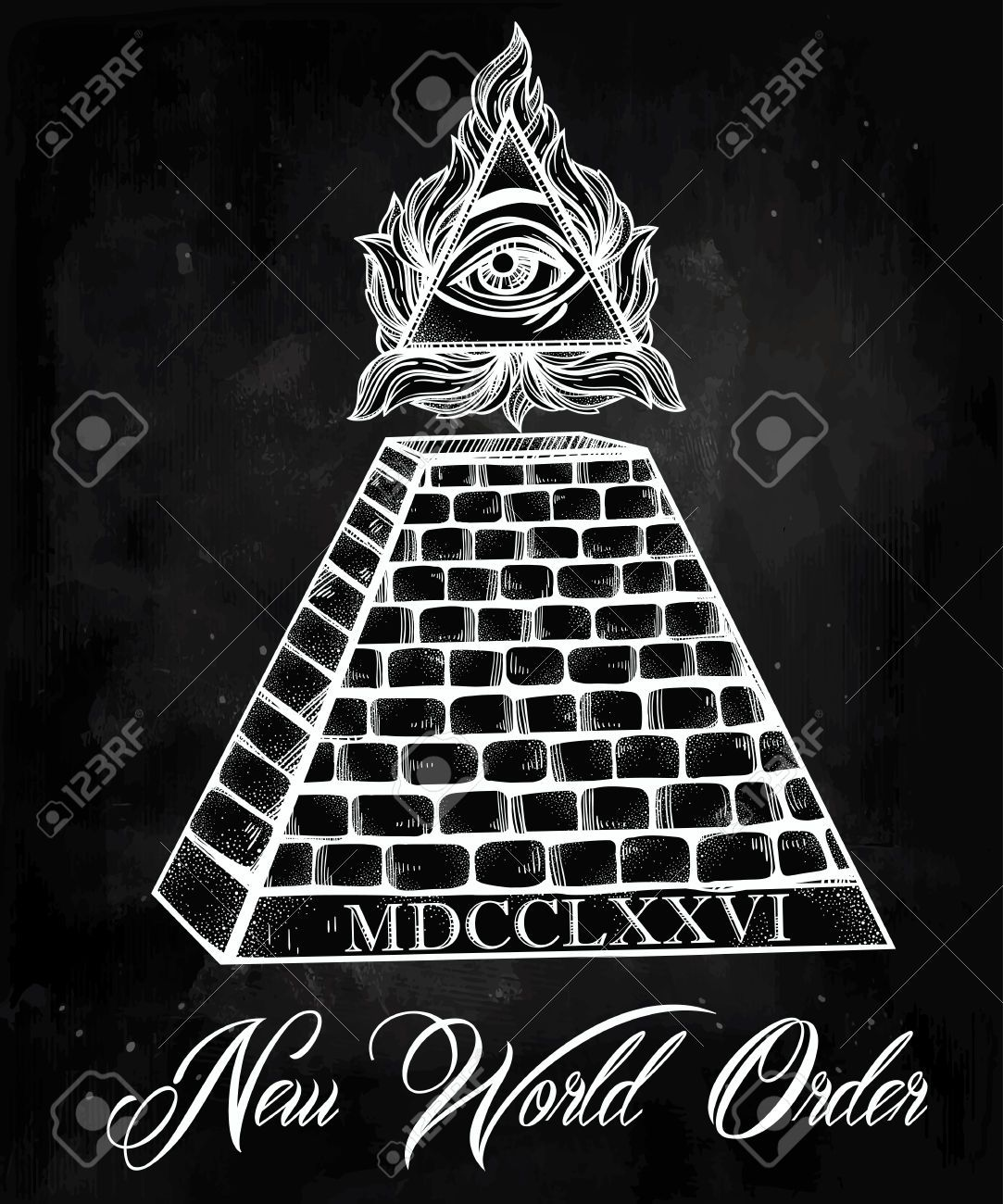 47704187 All Seeing Eye Pyramid Symbol New World Order Hand Drawn