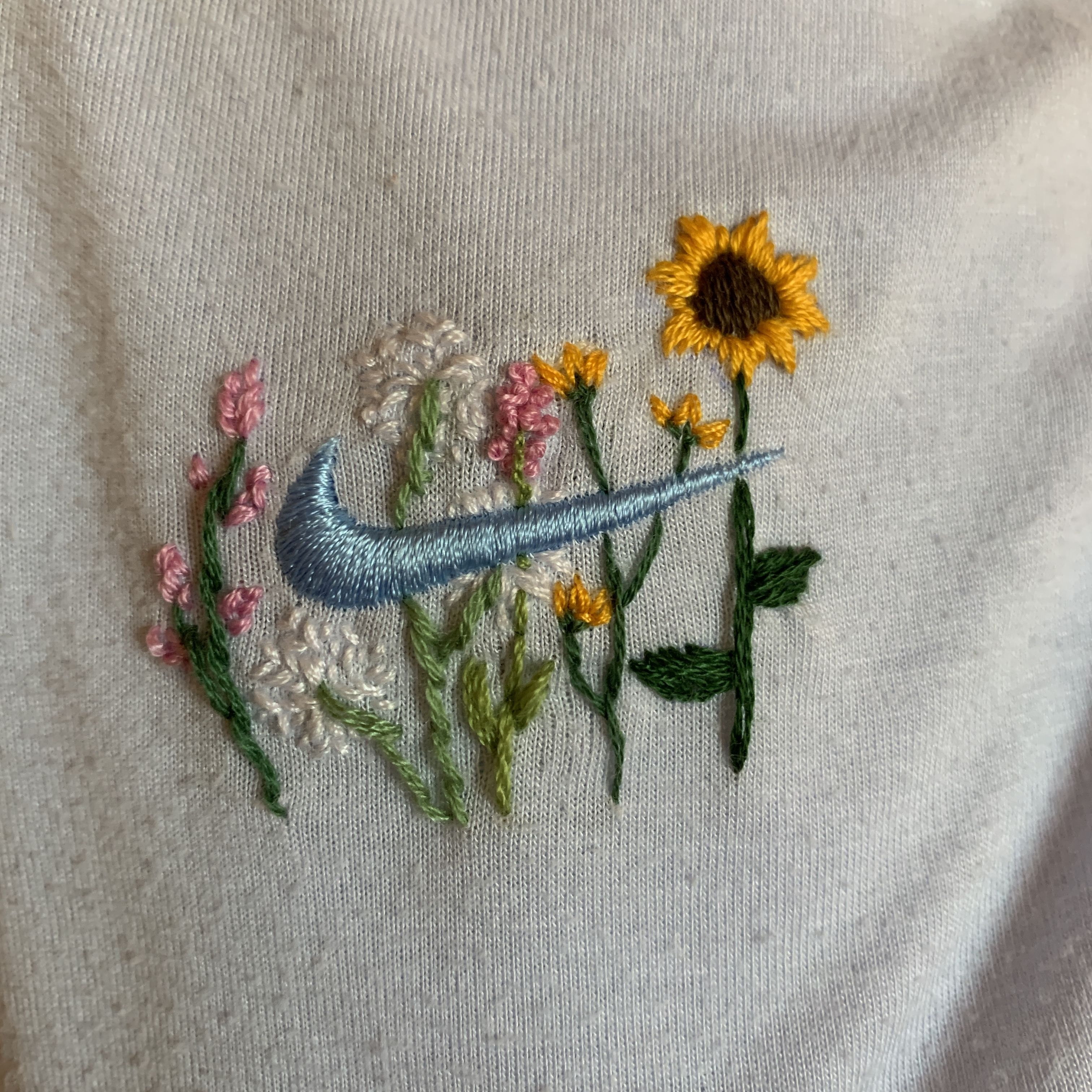 Embroidered Nike In 2020 Sewing Embroidery Designs Hand Embroidery Patterns Simple Embroidery Designs