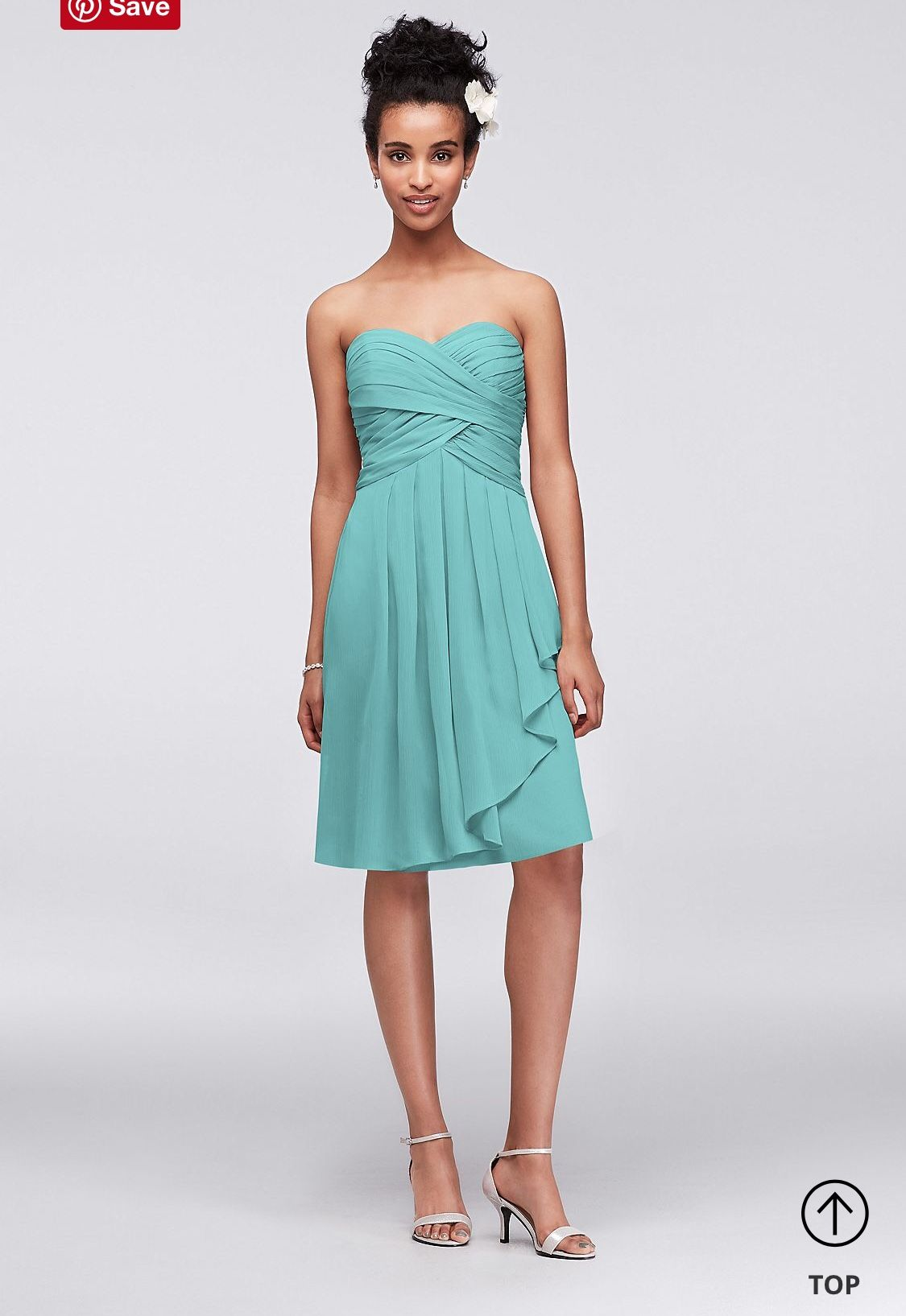 David\'s Bridal - Short Crinkle Chiffon Dress with Front Cascade (Spa ...