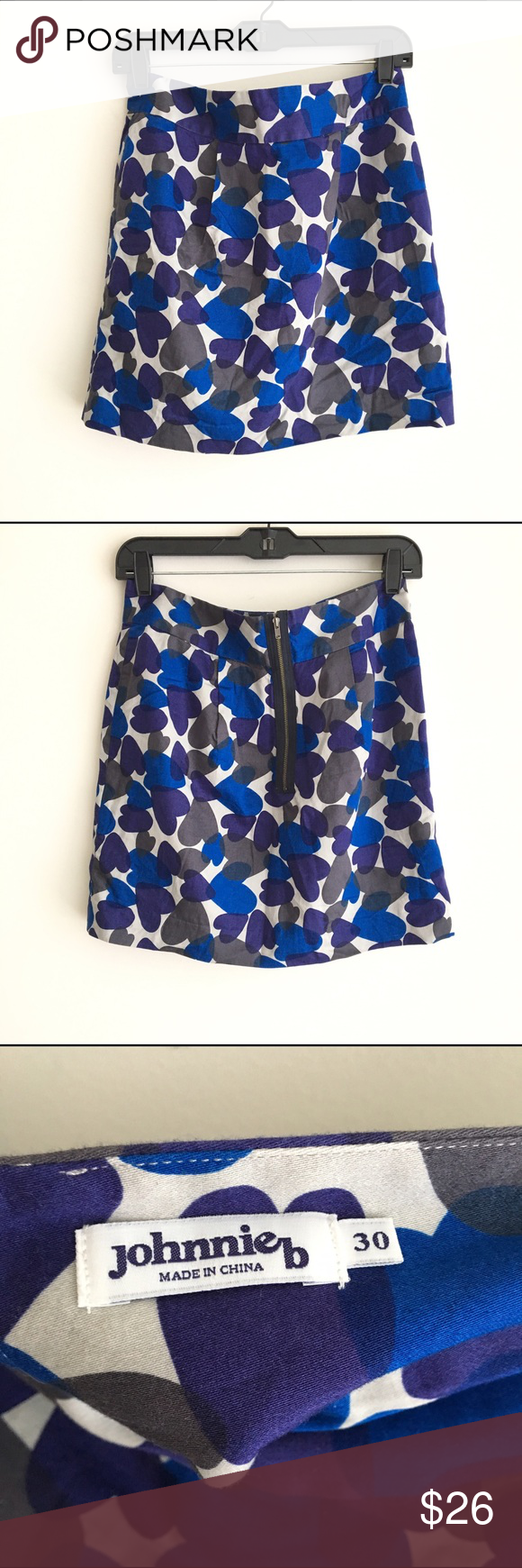 Johnnie  girls blue heart skirt waist length fully lined with exposed zipper in the back purple and gray print all over also rh pinterest