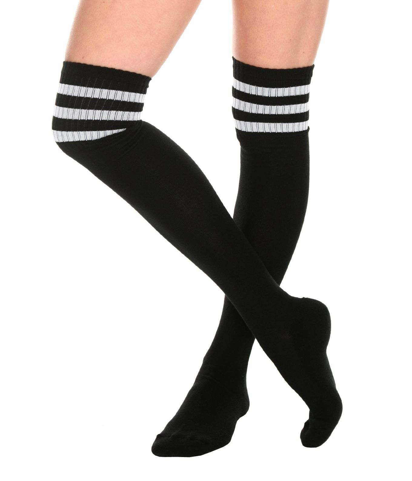 3bef5b3dfd4 This pair of black crew socks features three white stripes at the top.  Extra long