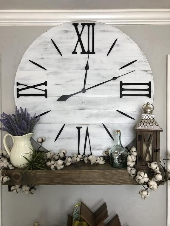 """Large Wall Clock """"The Bailey"""" Roman Numeral Farmhouse Wall Clock Roman Numeral Oversized Wall Clock Handmade Wooden Clock Big Clock images"""