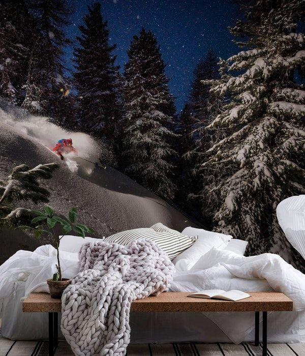 Powder turns with Adrien Coirier wall mural from HappywallNight Powder turns with Adrien Coirier wa