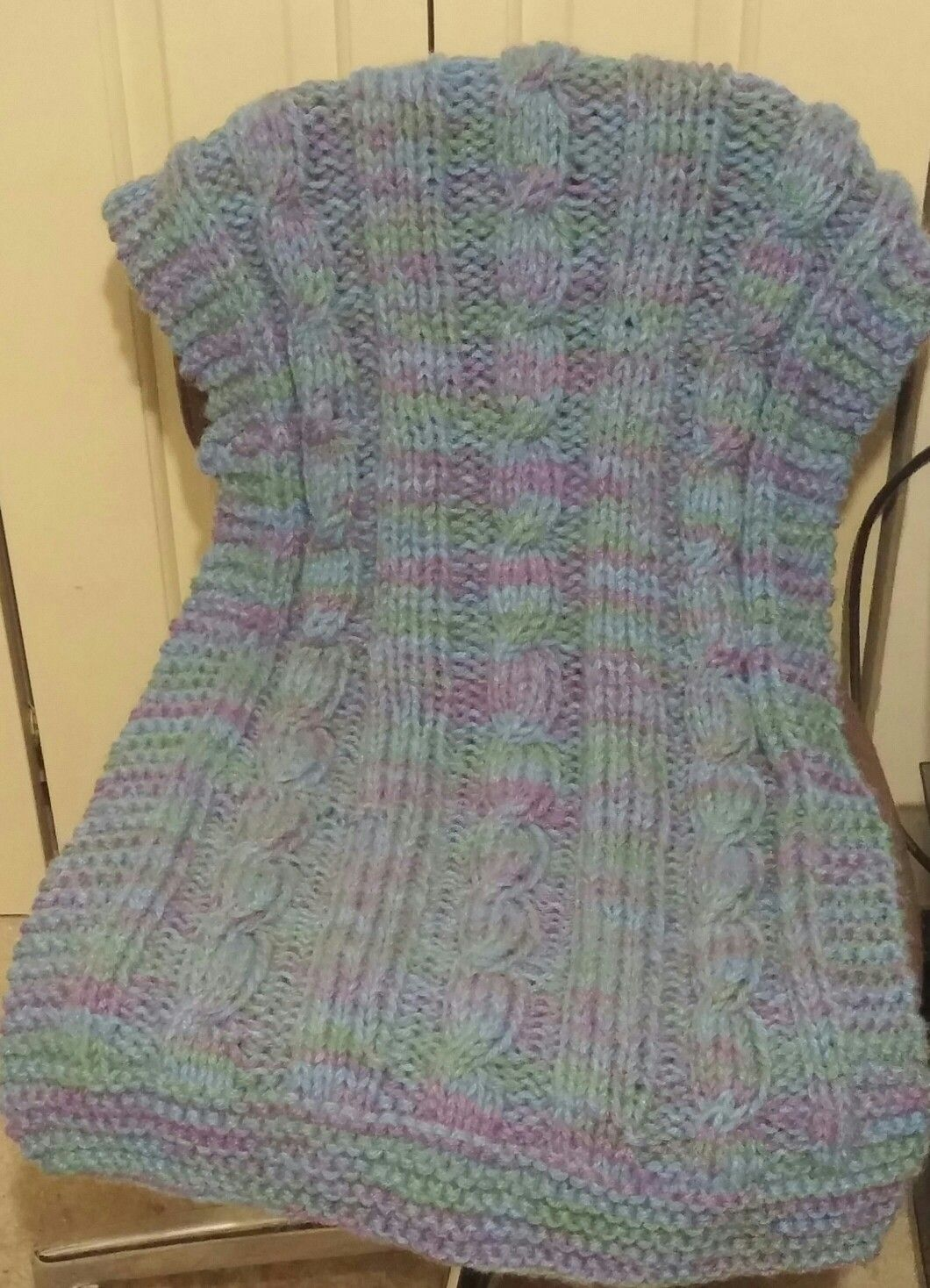 My finished project cable knit prayer shawl. I used Caron Dazzleaire ...