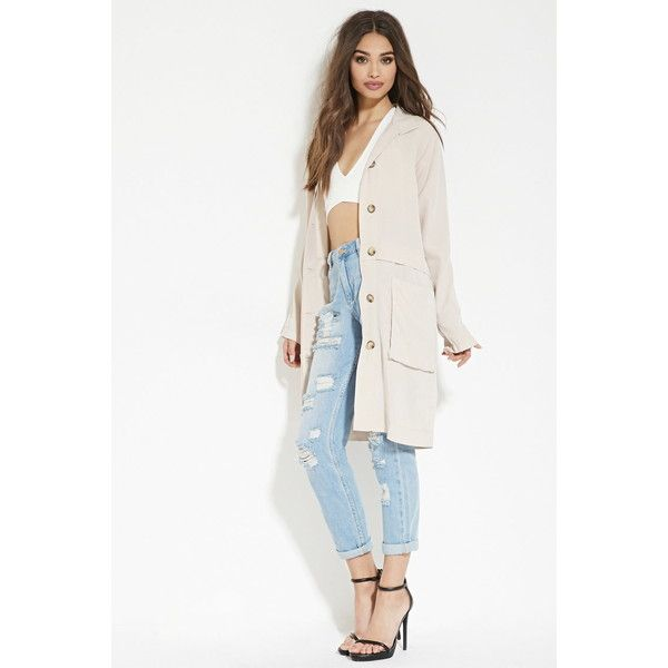 Forever 21 Women's  Buttoned Trench Jacket ($45) ❤ liked on Polyvore featuring outerwear, jackets, light weight jacket, white jacket, long sleeve jacket, trench coat and button jacket