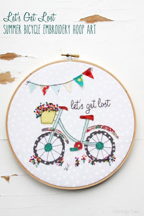 Lets Get Lost Summer Bicycle Embroidery Hoop Art Embroidery
