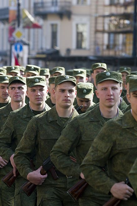 Russian soldiers on parade in Saint Petersburg