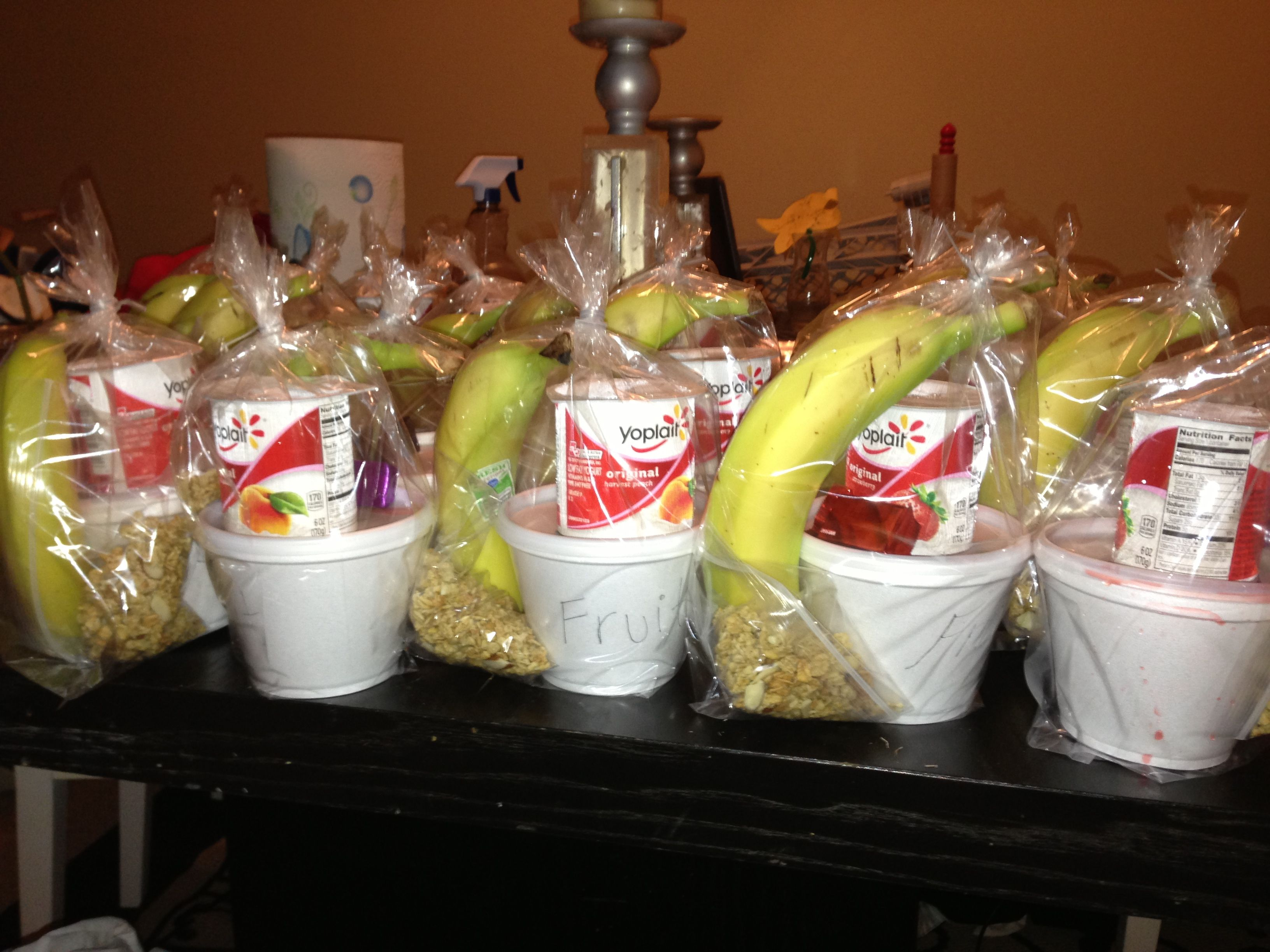Healthy fruit parfait snack gift bag for your co workers