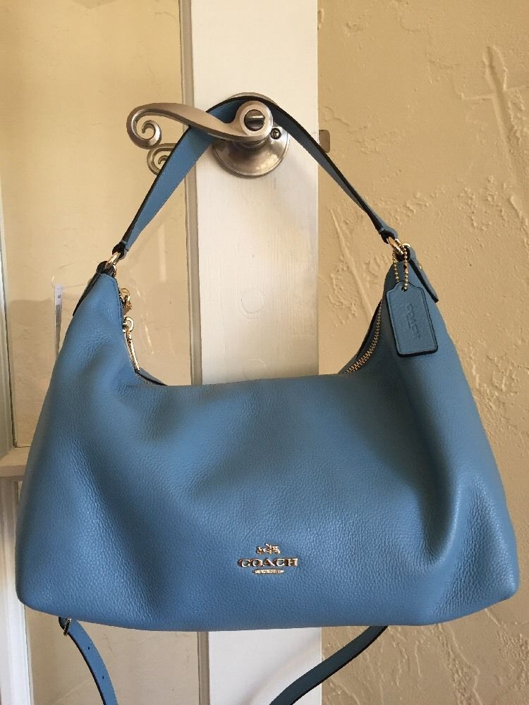 3570359f3f Coach F36628 E w Celeste Hobo Bag Bluejay Pebble Leather Convertible Xbody