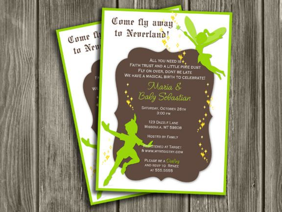 Printable peter pan and tinkerbell inspired baby shower for Peter pan invitation template
