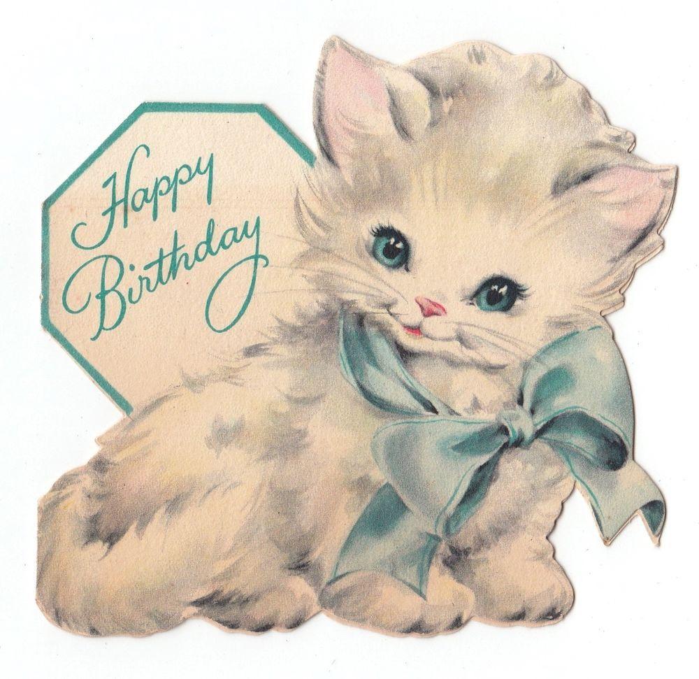 Vintage Greeting Card Cute Die Cut Hallmark Cat White Kitten