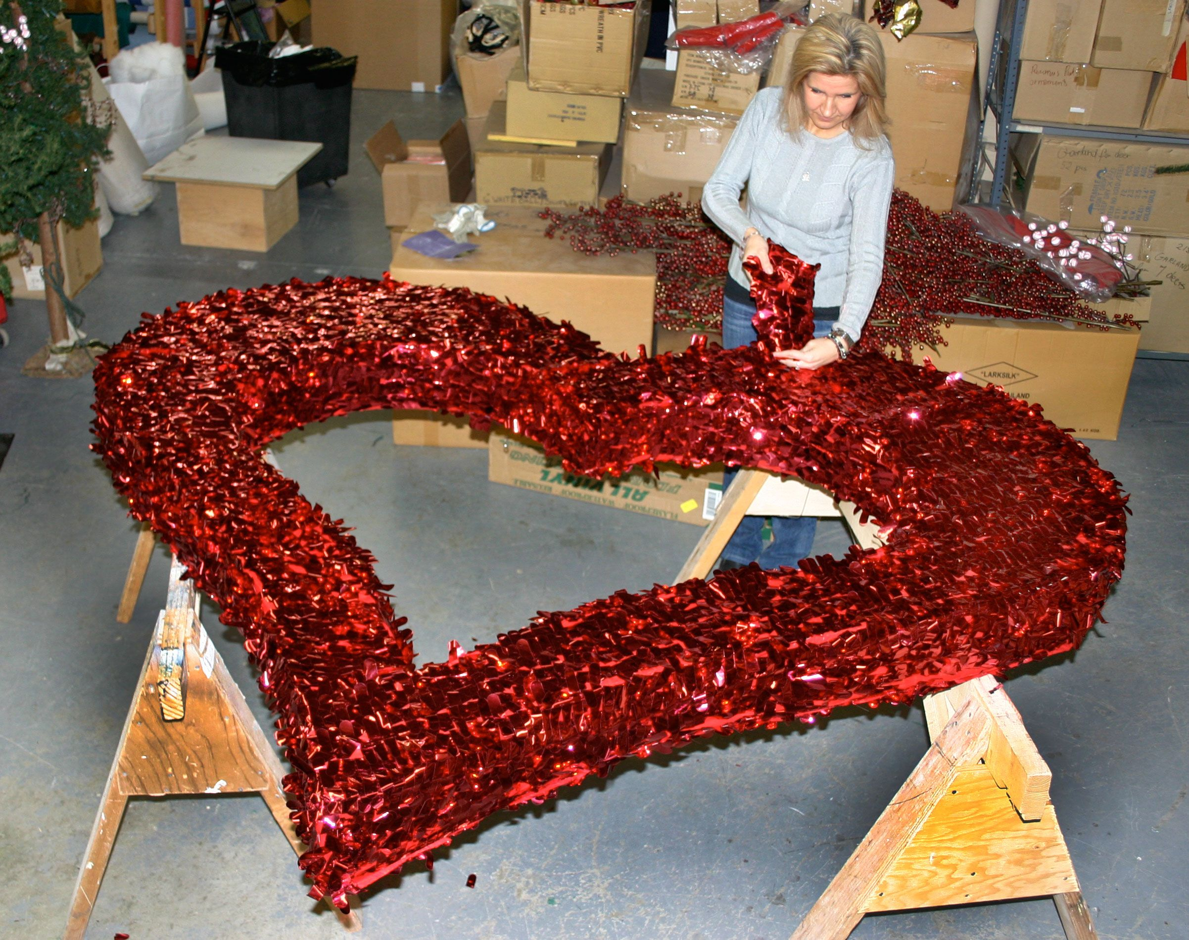 Putting The Finishing Touches On A Giant Heart In Our Factory Valentines Party Decor Valentines Day Decorations Valentine Decorations