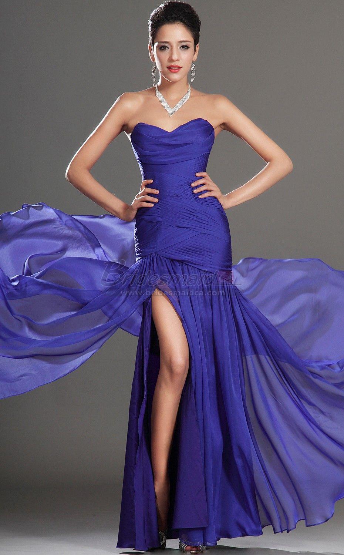 Long Sweetheart Neckline Chiffon Royal Blue Mermaid Bridesmaid Dress ...