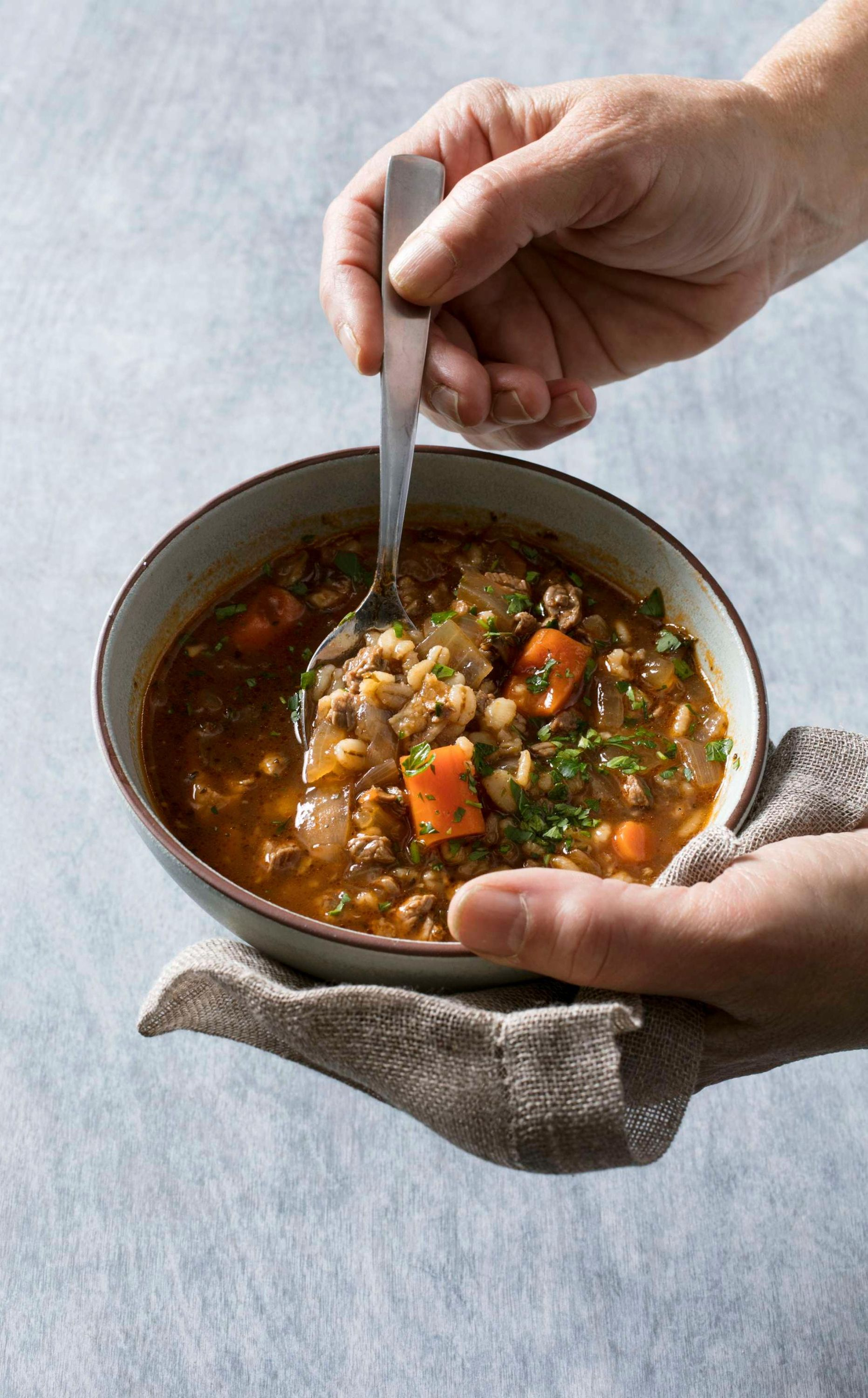 Instant pot ace blender beef and barley soup have an