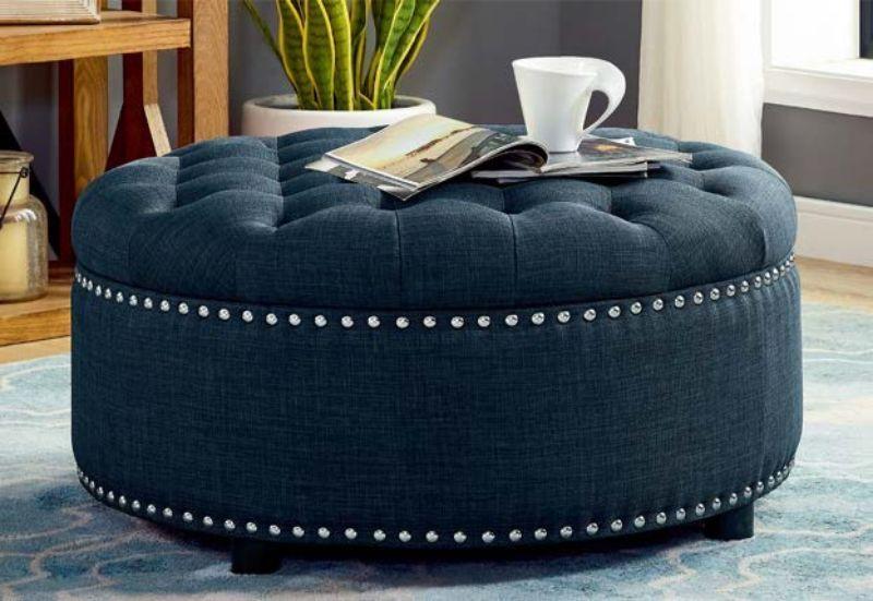 Oah D1029 Charlton Home Freya Dark Blue Linen Like Fabric Round