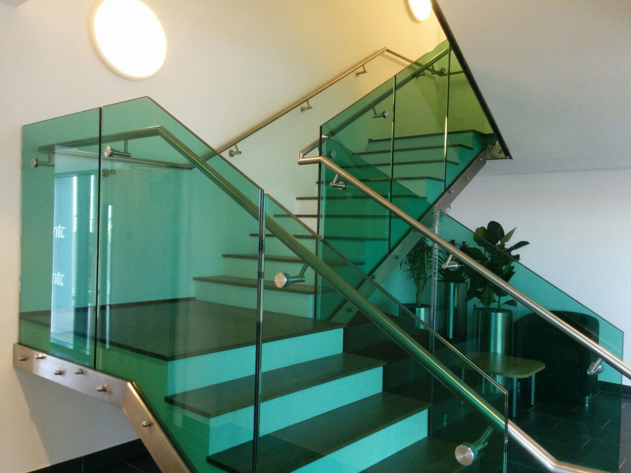 Best Staircase With Frameless Glass Balustrade Green Tint And 400 x 300