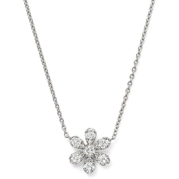 Diamond Flower Pendant Necklace in 14K White Gold, 16 (€1.420) ❤ liked on Polyvore featuring jewelry, necklaces, 14k necklace, 14 karat white gold necklace, flower jewellery, flower necklaces and pendant necklace