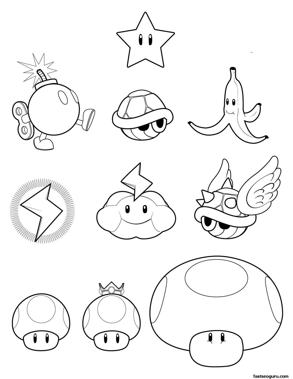 Super Mario Koopa Wario Toad Coloring Pages Jpg 1236 1600