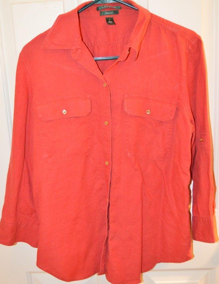 Lauren Ralph Lauren Women's Linen Red w/Gold Buttons Long Sleeve Shirt (L)