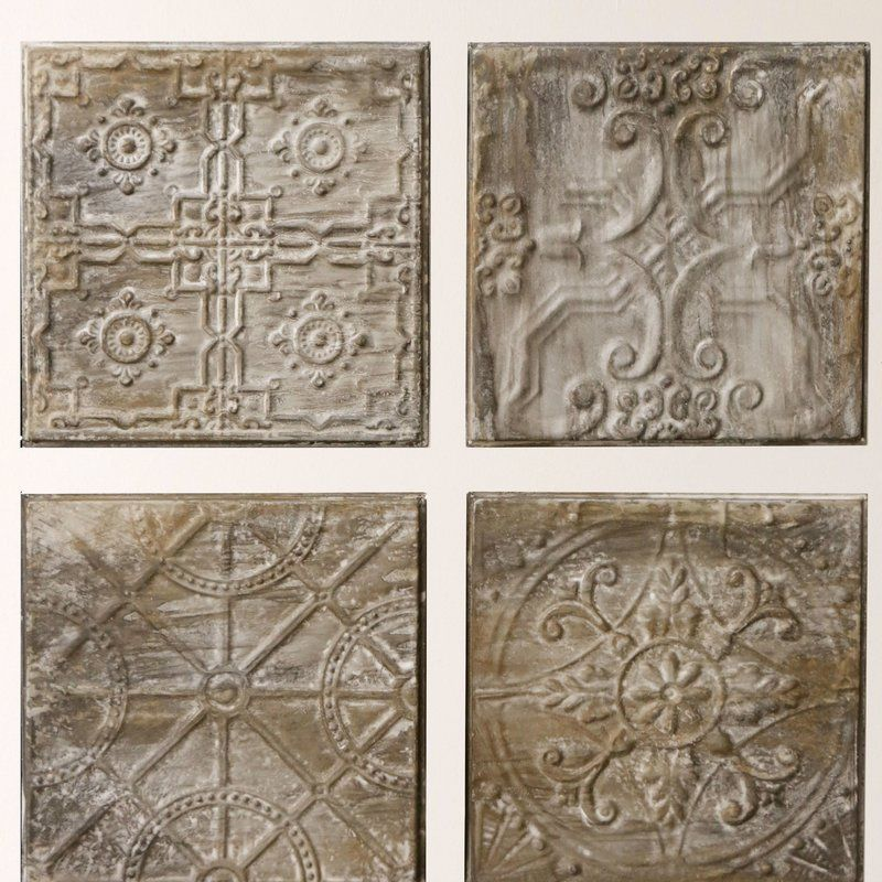 Kober 4 Piece Embossed Ceiling Tile Vintage Tin Tiles Tile Wall Art Embossed Ceiling Tiles
