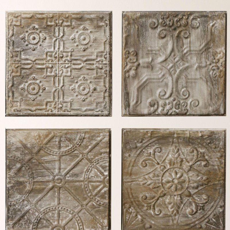 Kober 4 Piece Embossed Ceiling Tile Vintage Tin Tiles Tile Wall Art Embossed Ceiling Tiles