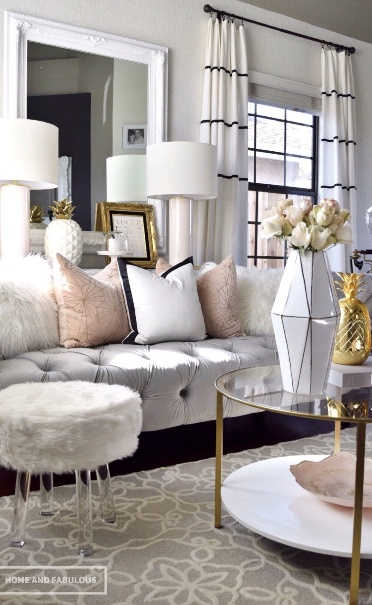 White Sofa Living Room Molding How One Couch Inspired A Transformation Homes Black Rod And Curtains With Narrow Stripes