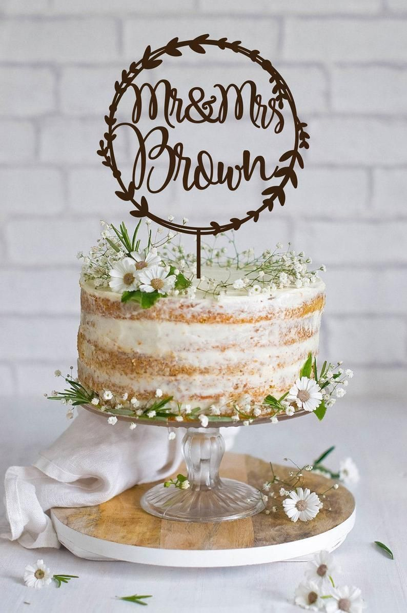 Wedding Cake Topper Wreath Mr End Mrs Name Cake Topper Wood Cake