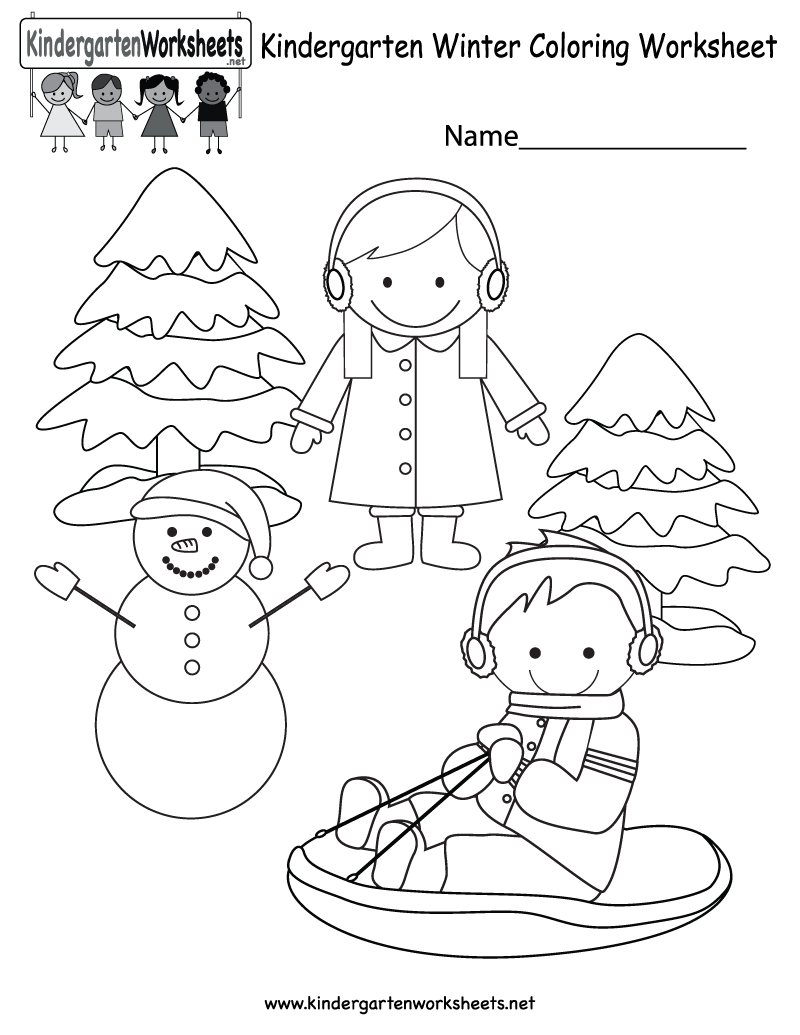 Kids Can Color A Cute Winter Scene With A Happy Snowman A Child Sledding Girl Wearing E Kindergarten Coloring Pages Winter Kindergarten Coloring Pages Winter