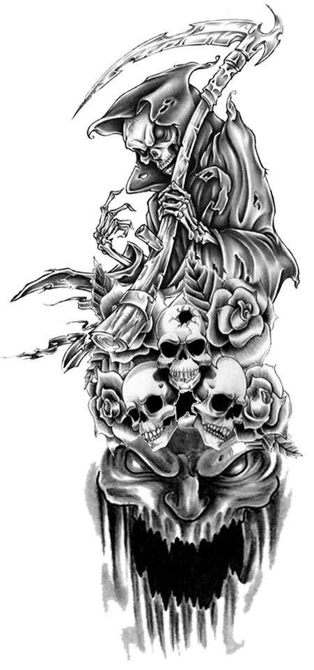 Reaper Tattoo Sketch Skull Sleeve Tattoos Reaper Tattoo Evil Tattoos