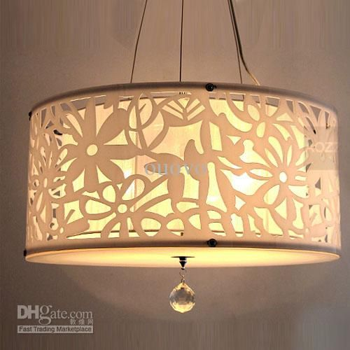 Acrylic Carve Flower Lampshade Pendant Light Modern Hollow Out Dining Room Crystal Lamp Round