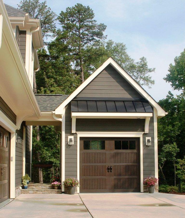 Garage Addition Craftsman With Container Plants Round Pots Garage Door Design Garage Guest House Garage Exterior