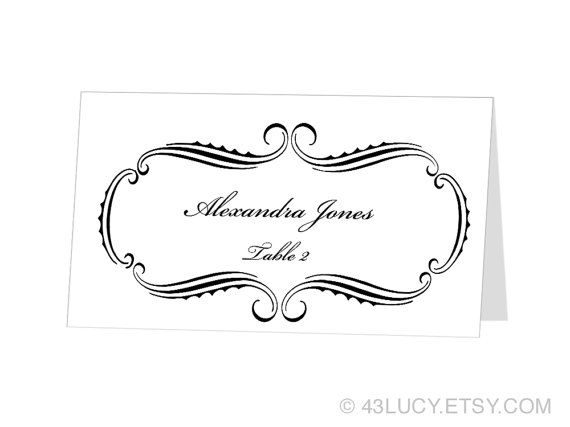 INSTANT DOWNLOAD Avery Place Card Template by 43Lucy on