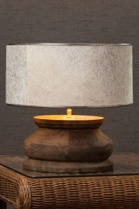 Beautiful Wood Table Lamp With Cow Hide Shade Desresdesign Co Uk 205 Candelabros Iluminacion Led