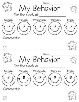 Behavior Chart Sheet | Preschool behavior, Classroom ...