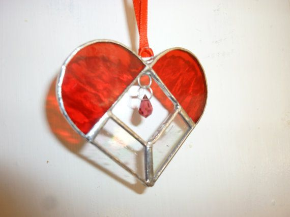 b585bfa3dabf Red heart stained glass suncatcher by HiromisGlass on Etsy