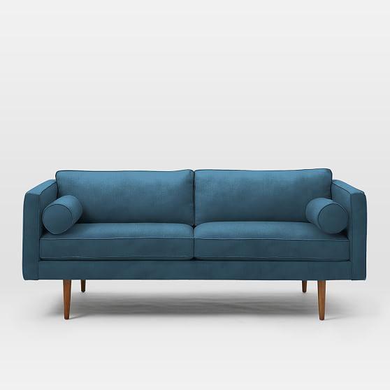 Remarkable Monroe Mid Century Loveseat Lustre Velvet Celestial Blue Machost Co Dining Chair Design Ideas Machostcouk