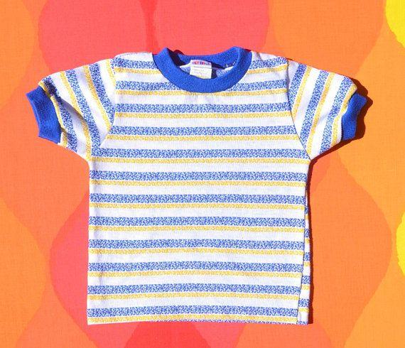 47f2ea4a2 vintage 70s kid's t-shirt ringer STRIPES tee 3T toddler children's 3 blue  yellow okie dokie 80s