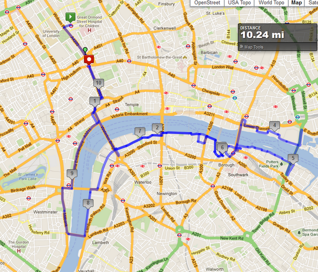 Self Guided London Running Tour Route Goes Past Kings College Tate Modern Shakespeare S Globe The London Bridge The Towe Topo Map Southwark King S College