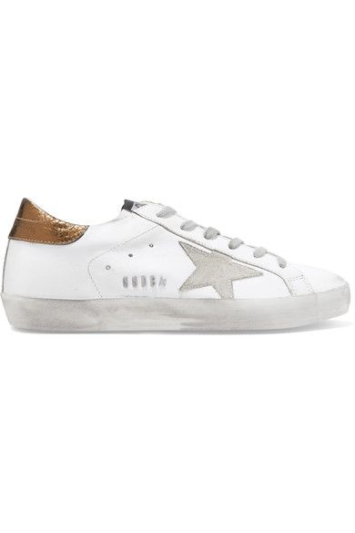 83504013d124f  goldengoose  shoes  sneakers. Golden Goose Deluxe Brand - Super Star  Distressed Suede-paneled Leather Sneakers - White Leather