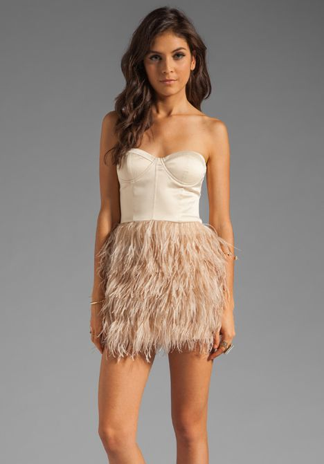 00ba44c8ed BLAQUE LABEL Feather Skirt Strapless Dress in Nude at Revolve ...