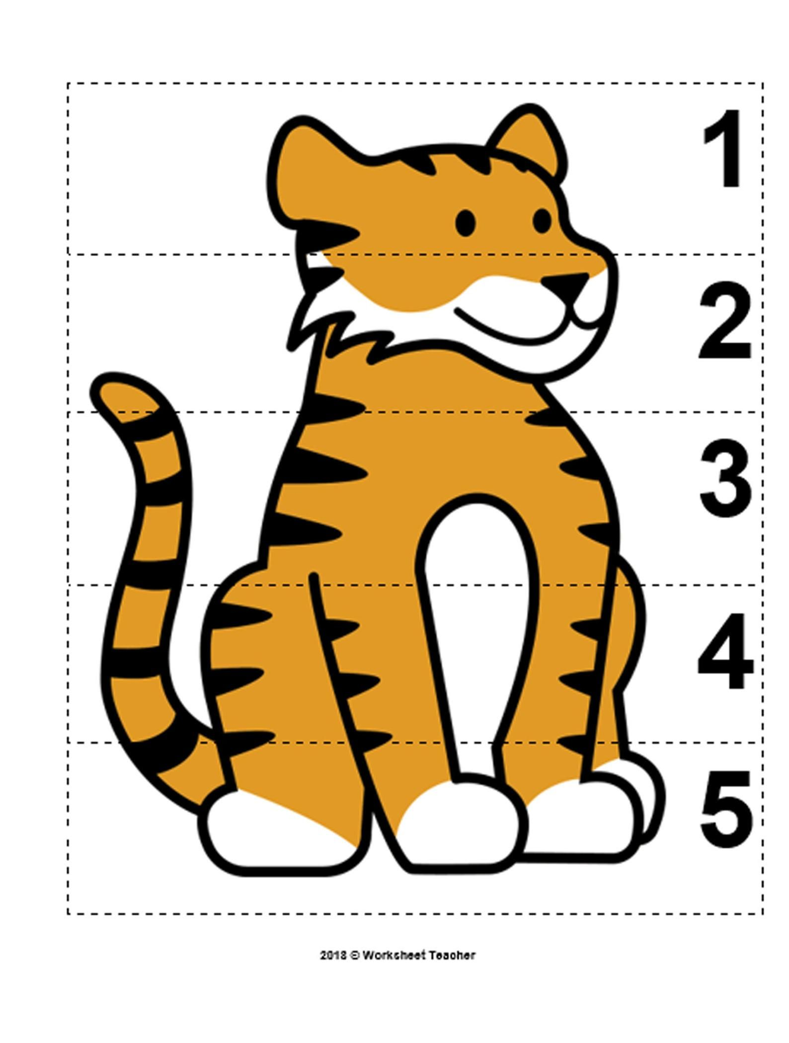 10 Zoo Animals Number Sequence 1 5 Preschool Math Picture