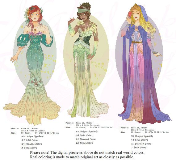 Ariel, Princess Mucha Style CROSS STITCH PATTERN Original Art by Hannah Alexander (Second Edition)