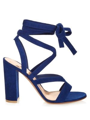 ce9543852d Gianvito Rossi uses royal-blue suede to elevate the block heel trend ...