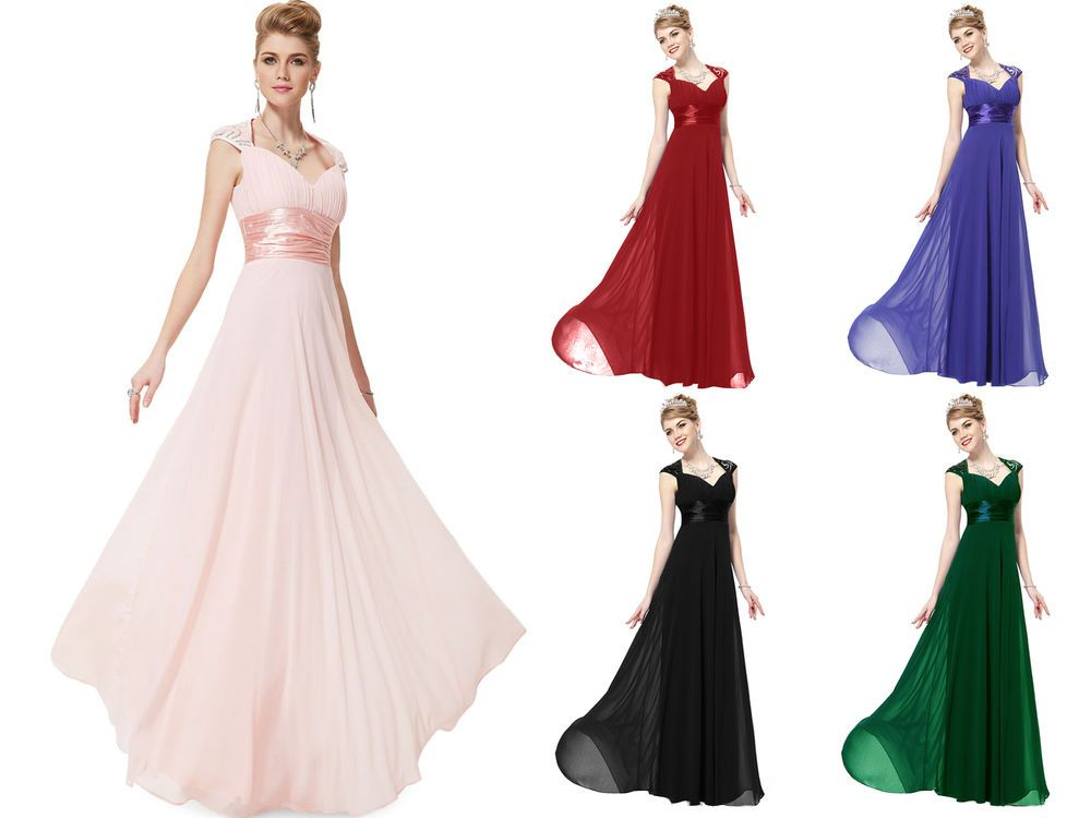 Ladies Luxury Chiffon Long Ball Formal Bridesmaid Dress Prom Ball ...