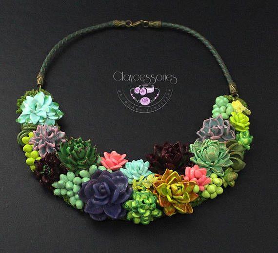 e20b0304408d7 Succulent necklace Plant necklace Cactus necklace Botanical necklace ...