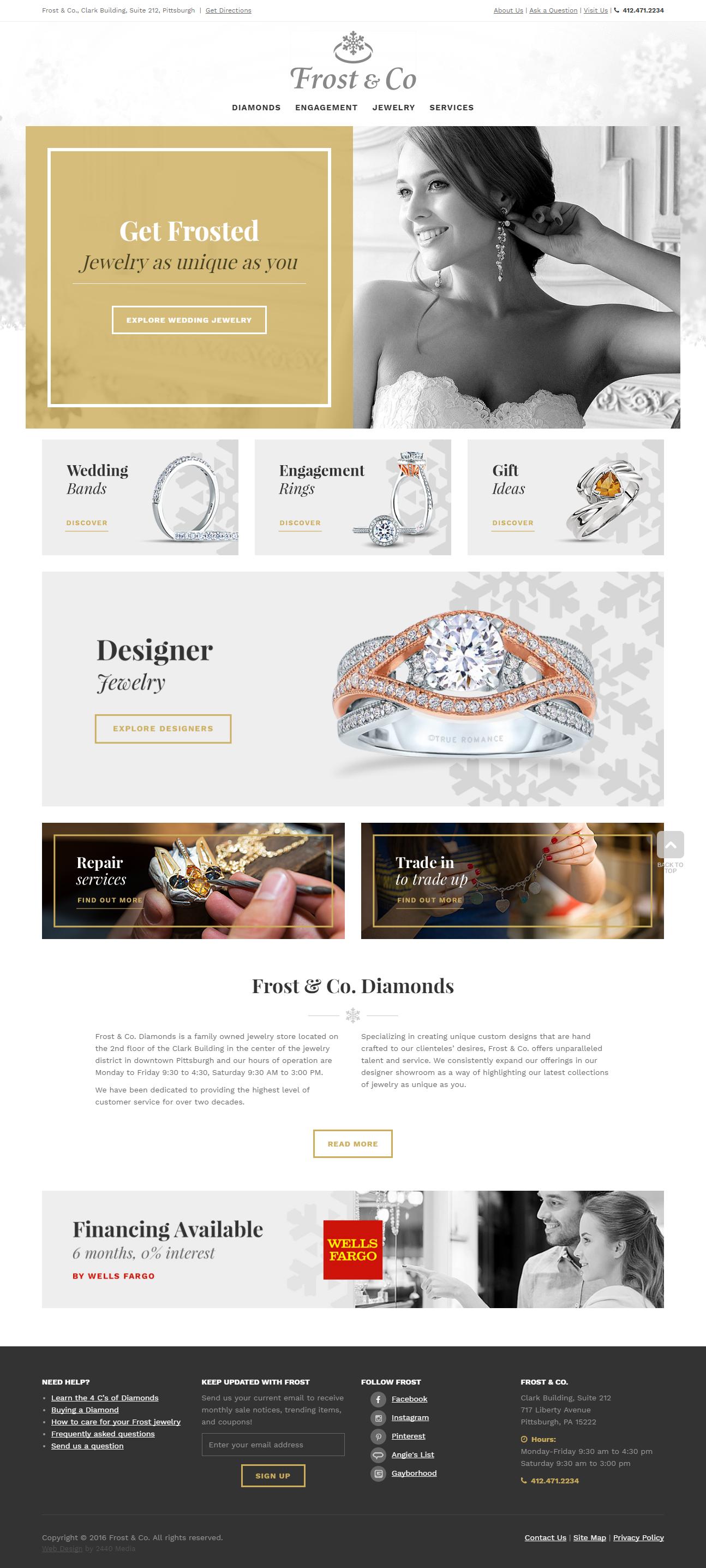 Frost Diamonds Custom Website Design Http Www Frostdiamonds Com Jewelry Website Design Portfolio Web Design Custom Website Design