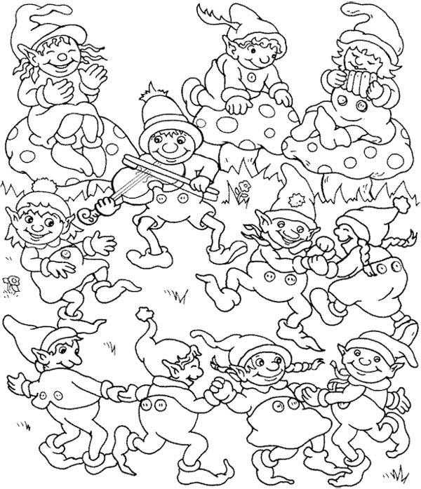 Dance Around Christmas Eve Coloring Page