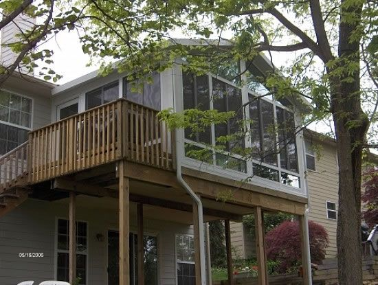 Sunrooms Gable Glass Kneewall Sunroom W Elevated Deck For The