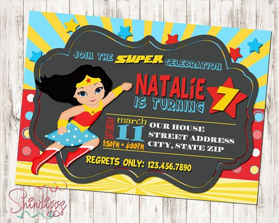 Wonder Woman Invitations Birthday S Superhero Wom