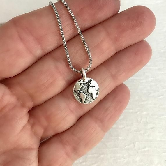 Silver world map necklace map necklace and jewelery silver world map necklace gumiabroncs Choice Image
